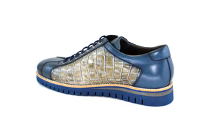 Corrente Printed Calfskin Lace-Up Oxford Blue