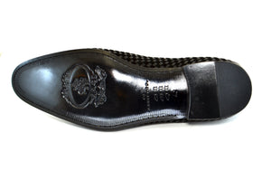 Corrente Woven Calfskin Slip-On Loafer Black