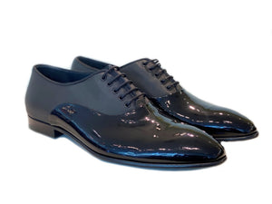 Corrente Shiny Calfskin Lace-Up Dress Oxford Black