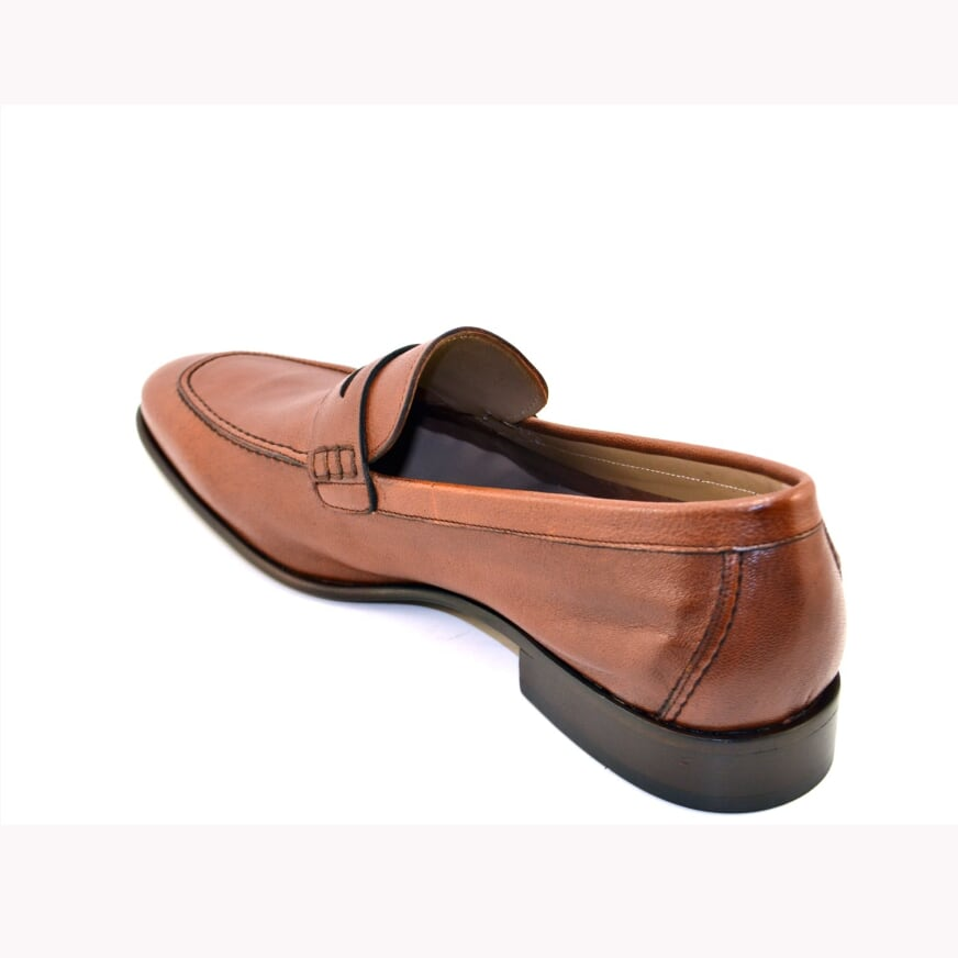 Corrente Lambskin Penny Loafer Brown