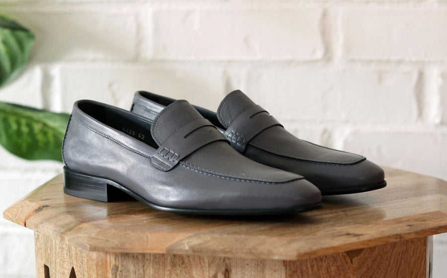 Corrente Lambskin Penny Loafer Grey