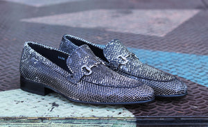 Corrente Python Printed Calfskin Loafer Black