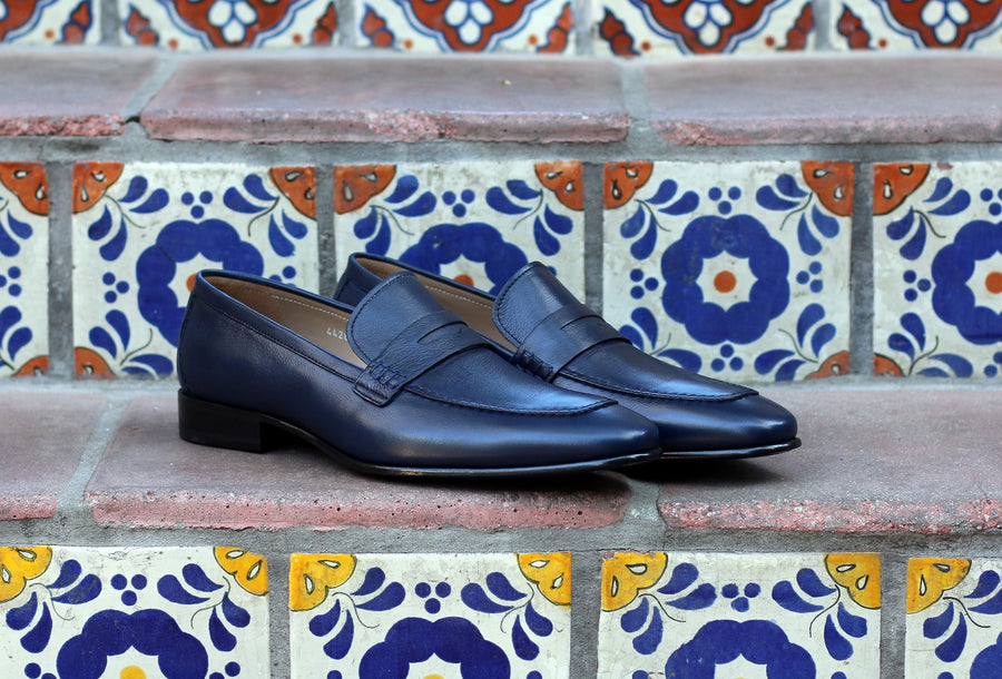 Corrente Lambskin Penny Loafer Navy