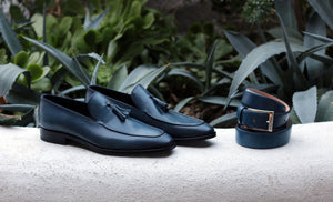 Corrente Calfskin Tasseled Loafer Blue