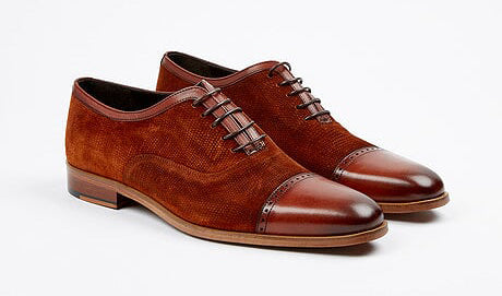 Corrente Suede & Calfskin Lace-Up Oxford Tan