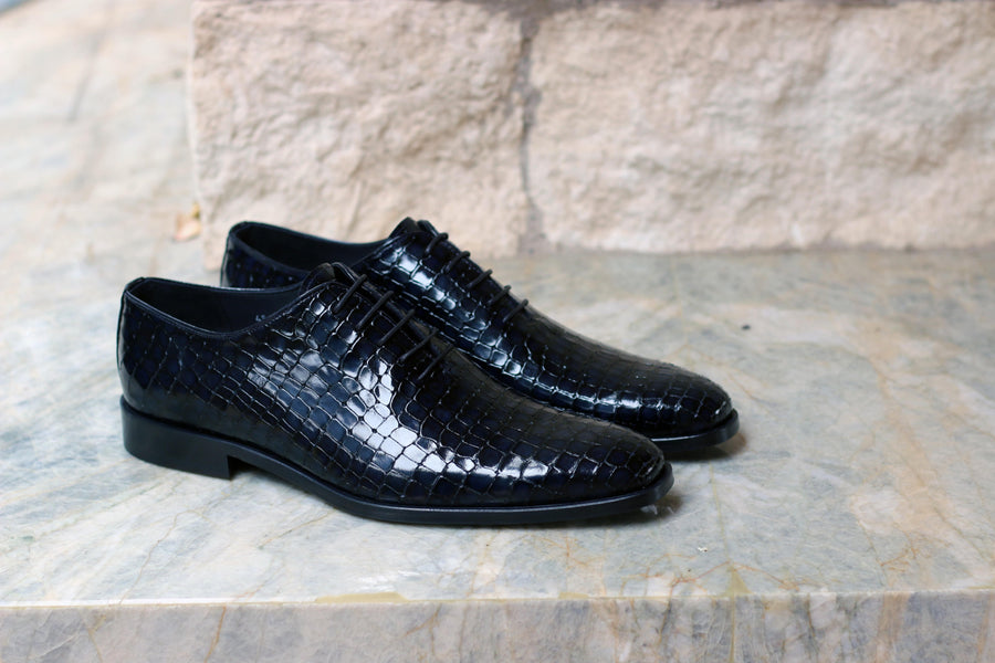 Corrente Crocodile Printed Calfskin Lace-Up Oxford Navy