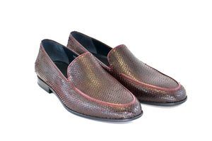 Corrente Python Printed Calfskin Loafer Burgundy
