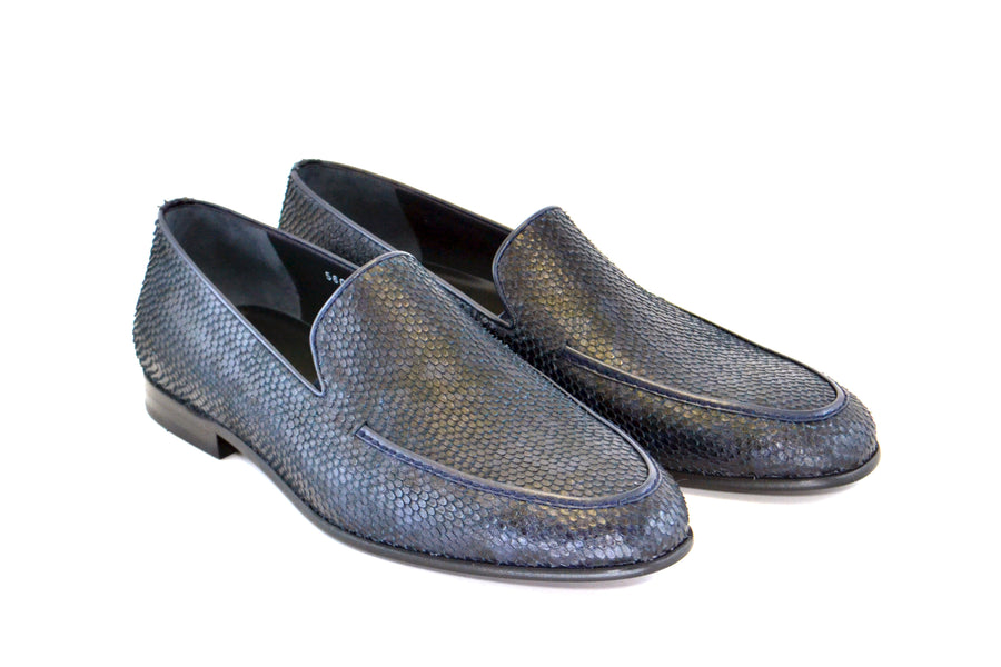Corrente Python Printed Calfskin Loafer Navy