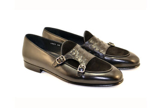 Corrente Calfskin & Suede Slip-On Loafer Black