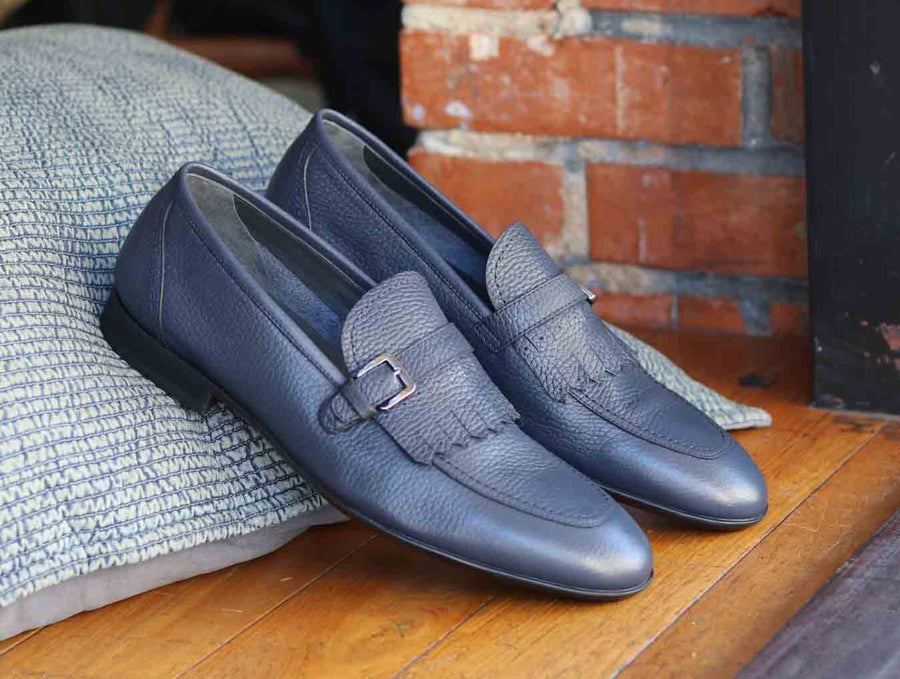 Corrente Deerskin Slip-On Loafer Navy