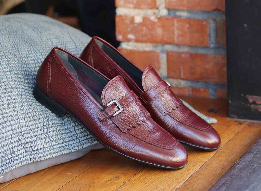 Corrente Deerskin Slip-On Loafer Burgundy