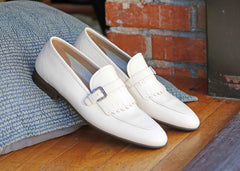 Corrente Deerskin Slip-On Loafer White