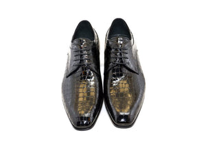 Corrente Crocodile Embossed Calfskin Lace-Up Oxford Black