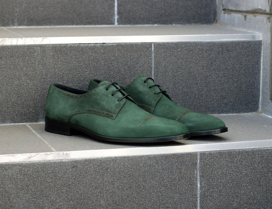 Corrente Suede Lace-Up Oxford Green