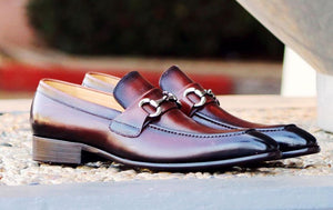 Burnished Calfskin Slip-On Loafer Brown