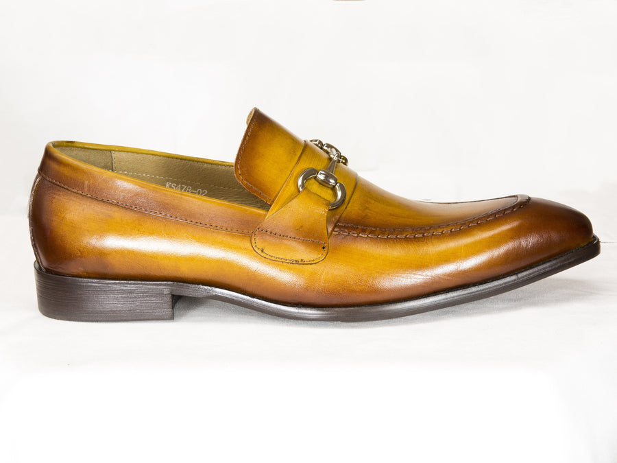 Burnished Calfskin Slip-On Loafer Cognac