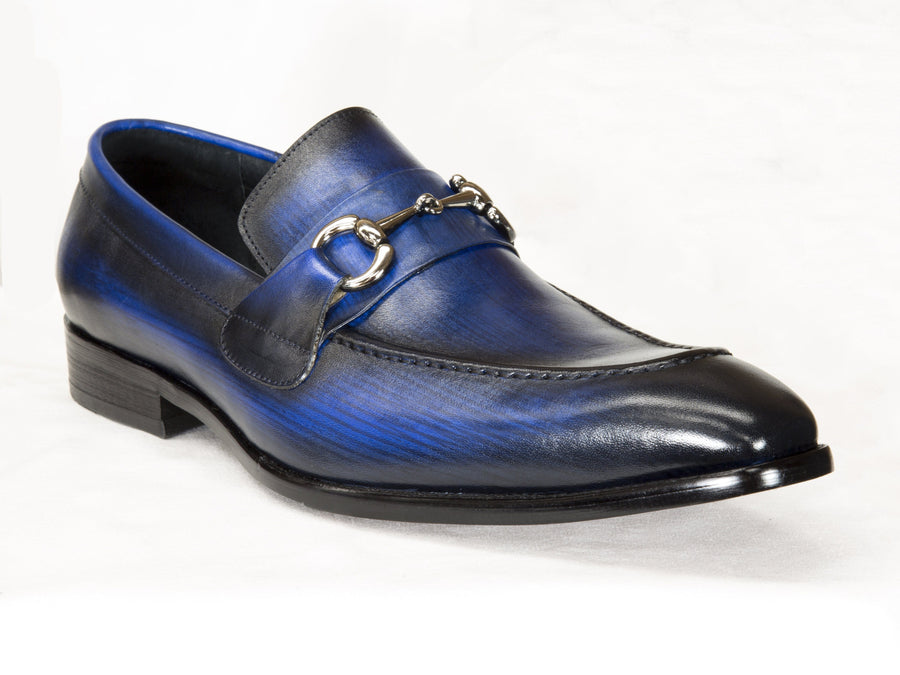Burnished Calfskin Slip-On Loafer Blue