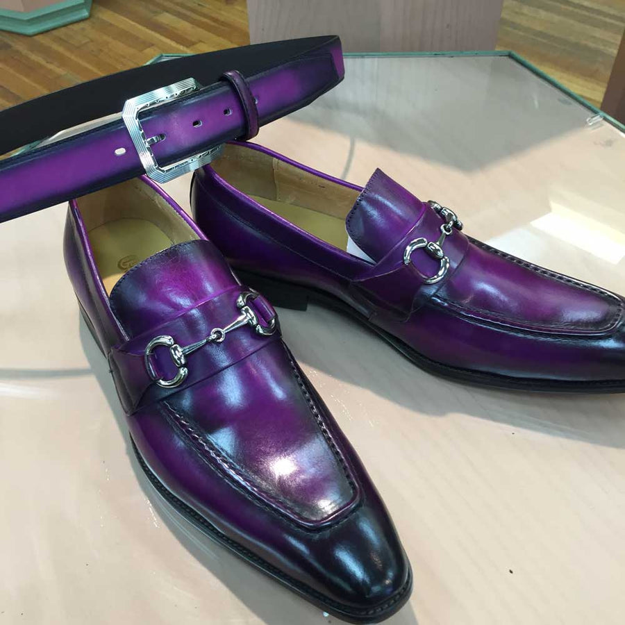 Burnished Calfskin Slip-On Loafer Purple