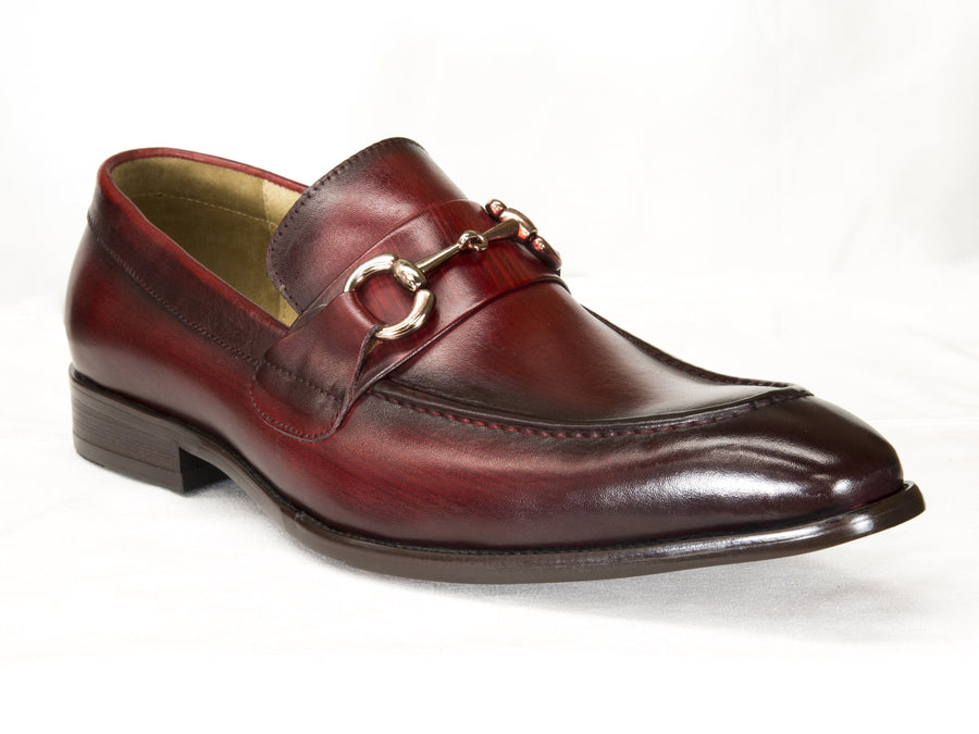 Burnished Calfskin Slip-On Loafer Red