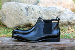 Burnished Calfskin Slip-On Boot Black