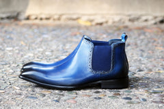 Burnished Calfskin Slip-On Boot Navy