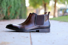 Burnished Calfskin Slip-On Boot Chestnut