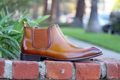 Burnished Calfskin Slip-On Boot Cognac
