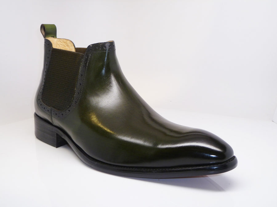 Burnished Calfskin Slip-On Boot Emerald