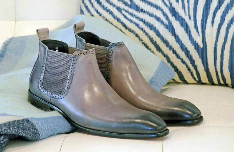 Burnished Calfskin Slip-On Boot Grey