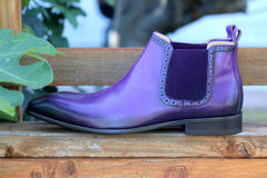 Burnished Calfskin Slip-On Boot Purple