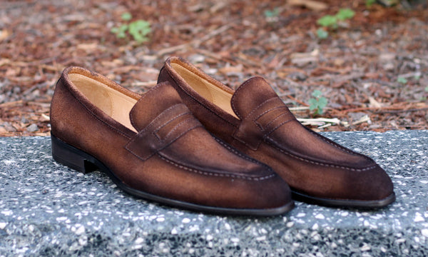 Suede Slip-On Penny Loafer Brown