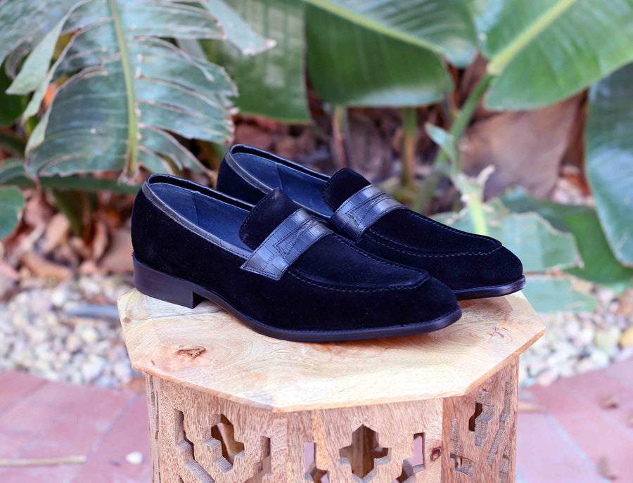 Suede Slip-On Penny Loafer Black