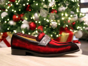 Suede Slip-On Penny Loafer Red