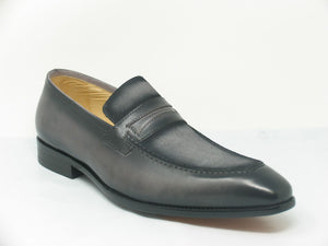 Burnished Calfskin & Suede Loafer Grey