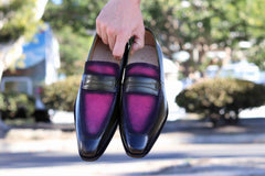 Burnished Calfskin & Suede Loafer Pink/Olive