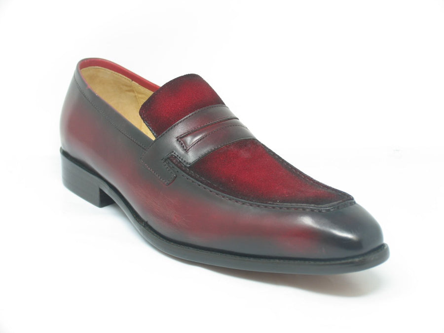 Burnished Calfskin & Suede Loafer Red