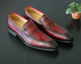 Calfskin Slip-On Penny Loafer Burgundy