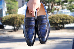 Printed Calfskin Slip-On Loafer Blue