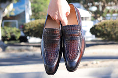 Printed Calfskin Slip-On Loafer Chestnut