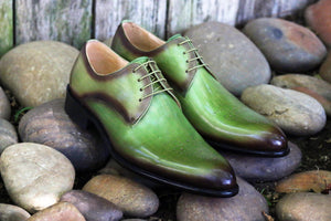 Burnished Calfskin Lace-Up Oxford Olive
