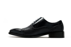 Calfskin & Deerskin Lace-Up Oxford Black