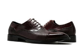 Calfskin & Deerskin Lace-Up Oxford Burgundy