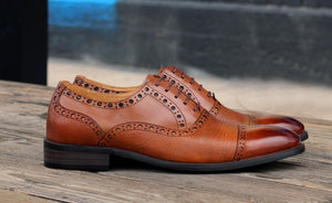 Calfskin & Deerskin Lace-Up Oxford Cognac