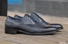 Calfskin & Deerskin Lace-Up Oxford Navy