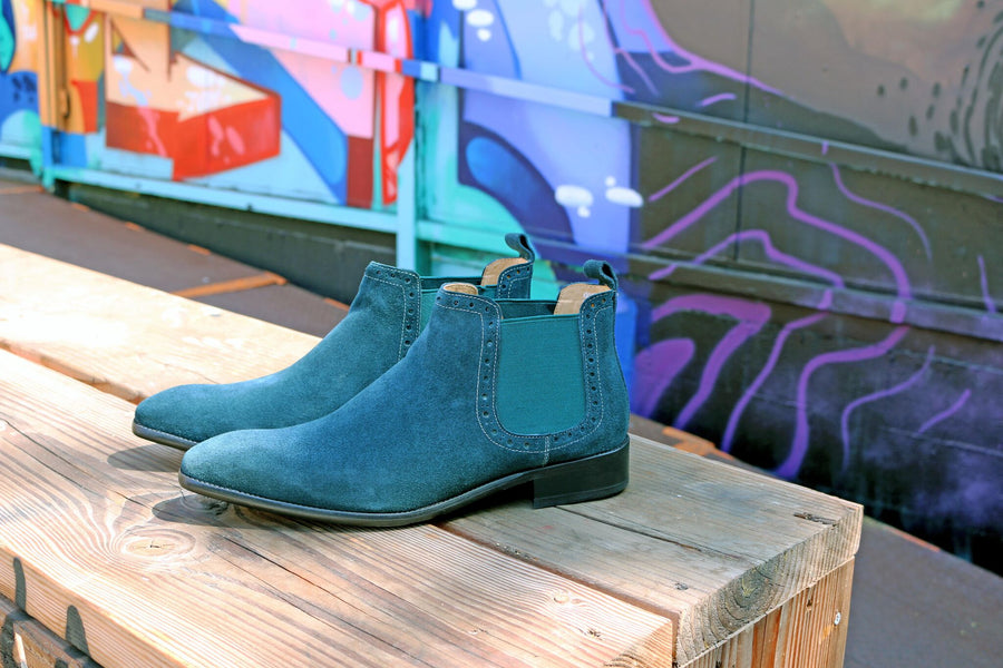 Suede Slip-On Boot Teal