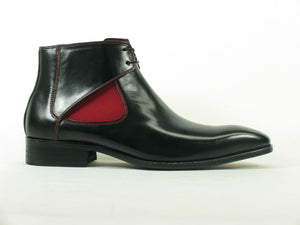 Carrucci by Maurice Calfskin Slip-On Boot Black/Red