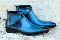 Carrucci by Maurice Calfskin Slip-On Boot Blue