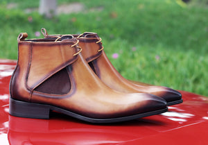 Carrucci by Maurice Calfskin Slip-On Boot Cognac