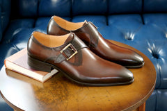 Burnished Calfskin Monkstrap Chestnut