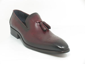 Burnished Calfskin Tasseled Loafer Burgundy